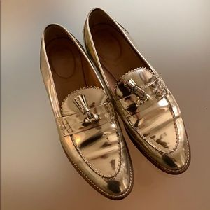 J Crew Gold Loafers in W8